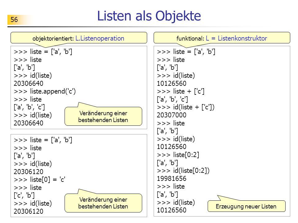 Listen als Objekte >>> liste = [ a , b ] >>> liste